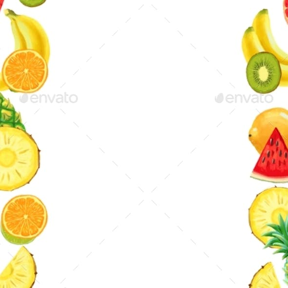 Hand Drawn Exotic Fruit Bordder Isolated on White