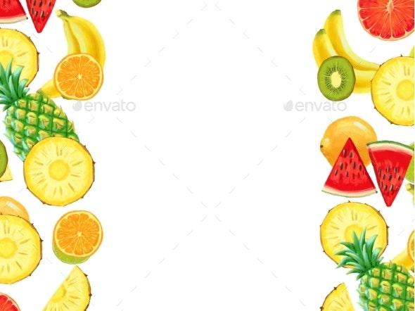 Hand Drawn Exotic Fruit Bordder Isolated on White - Borders Decorative