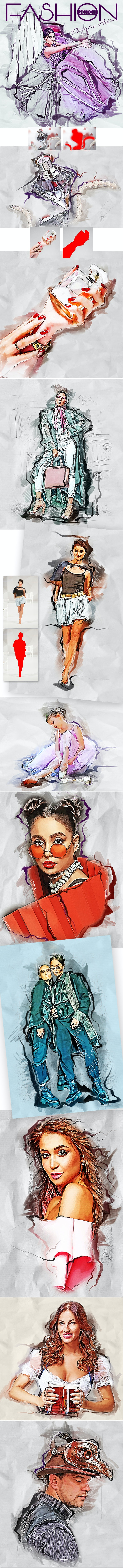 Fashion Sketch Photoshop Action - Photo Effects Actions