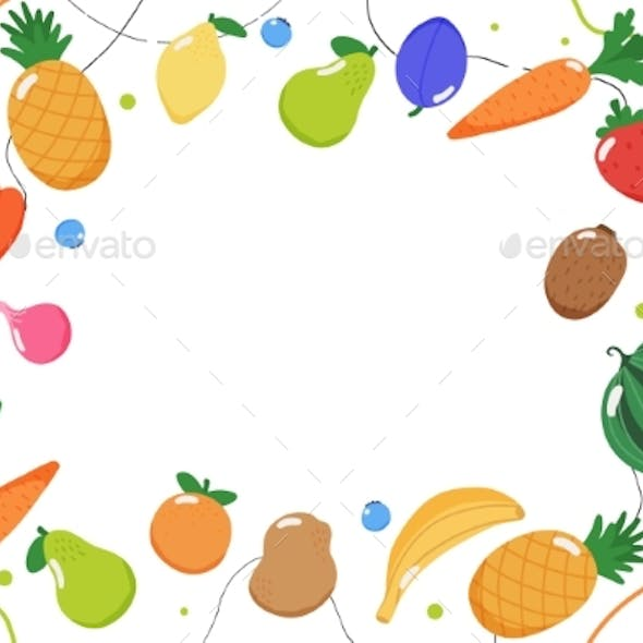Fruits and Vegetables Background, Vector