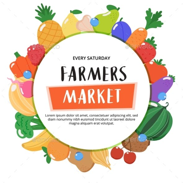 Farmers Market Background with Fruits and