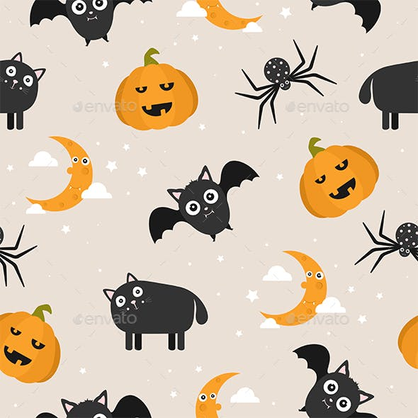 Seamless Background with Halloween Cartoon Icons