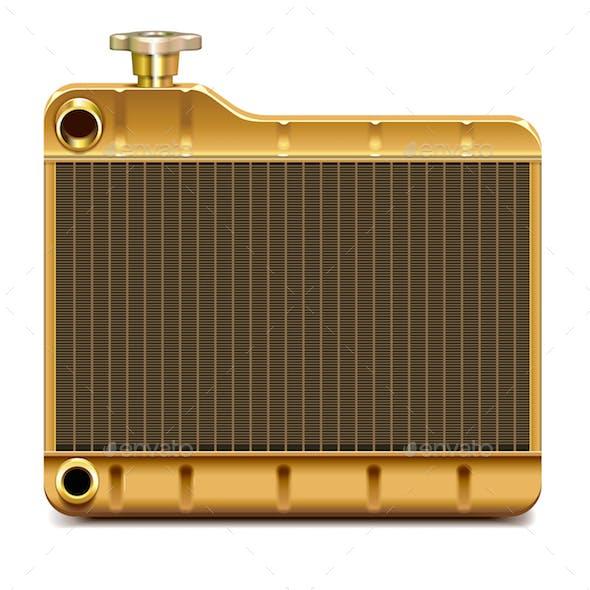 Vector Brass Car Radiator Icon
