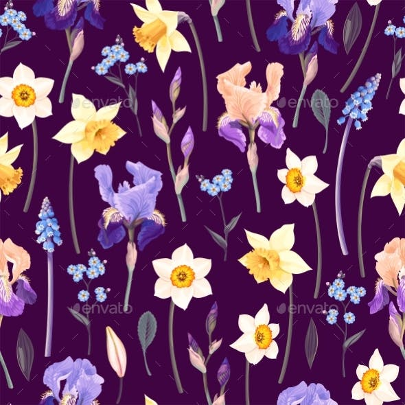 Vector Pattern with Yellow and Blue Garden Flowers