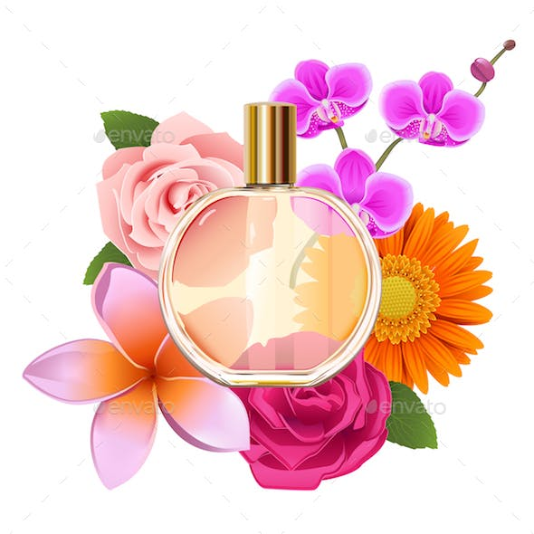 Vector Perfume with Flowers
