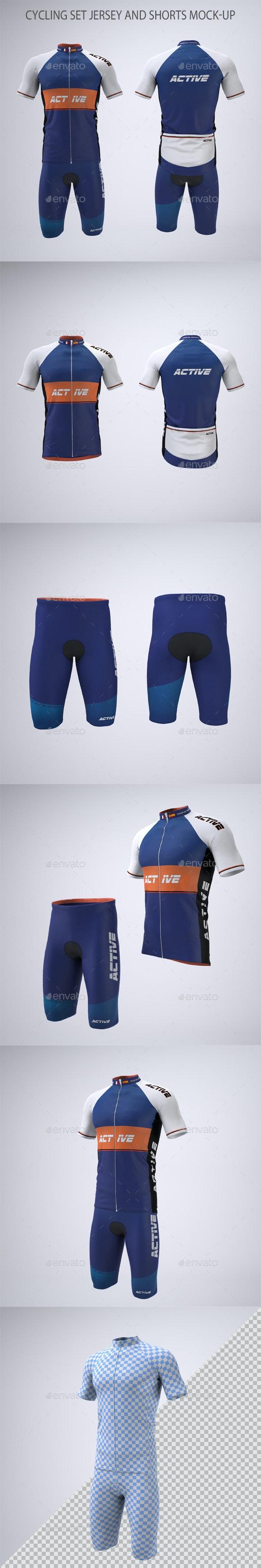 Cycling Set Jersey and Shorts Mock-up - Apparel Product Mock-Ups