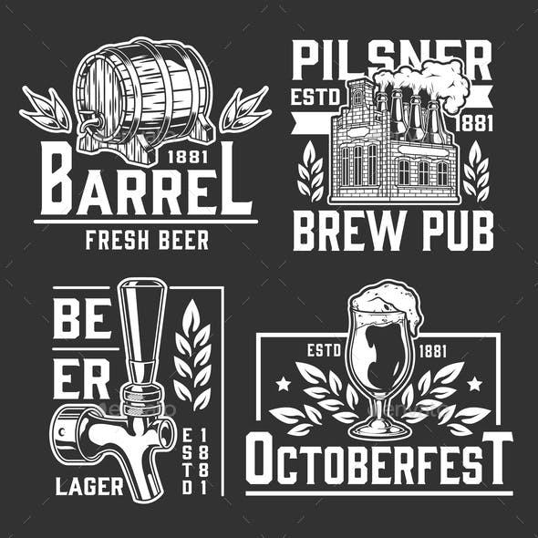 Beer vintage monochrome logos collection