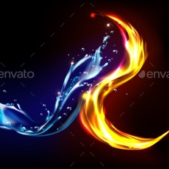 Fire and Water Splash Abstract Design Opposites