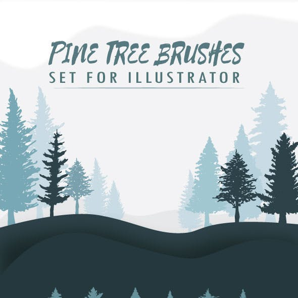Pine Tree Brushes Set for Illustrator