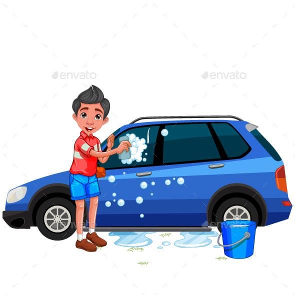 A Boy Washing The Car Cartoon