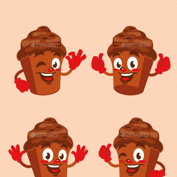 cupcake chocolate cartoon character design
