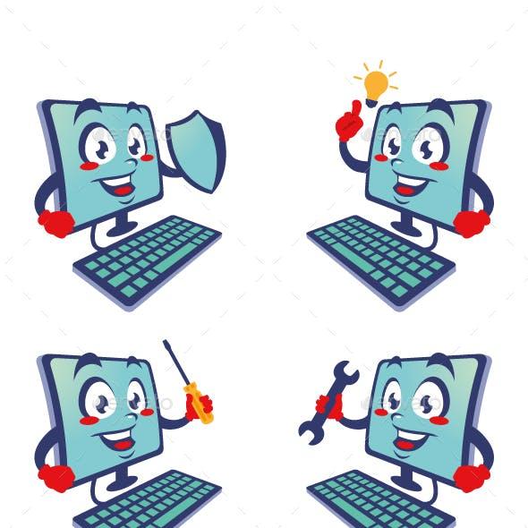computer cartoon character cute design