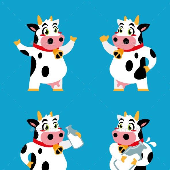 cow cartoon character sticker design