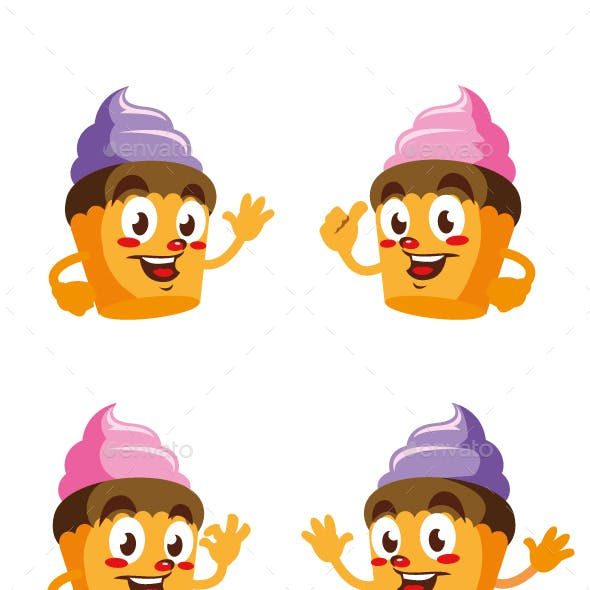 cupcake cartoon character cute design