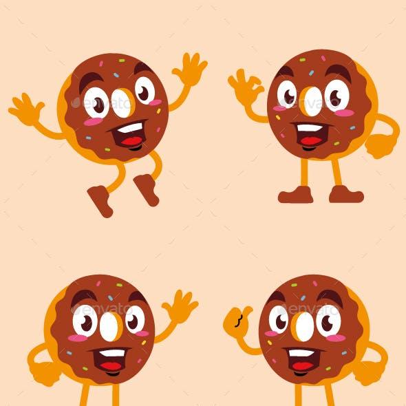 donut cartoon character cute design