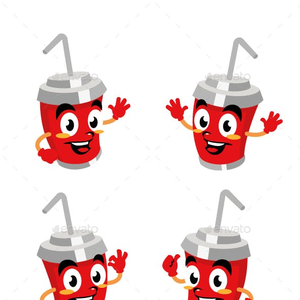 drink bottle cartoon character design