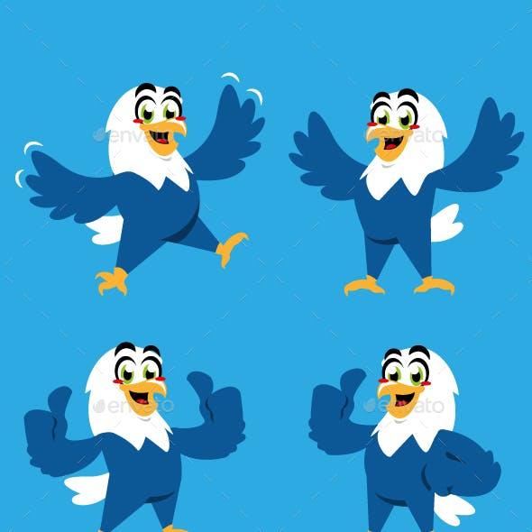 eagle bird cartoon character cute