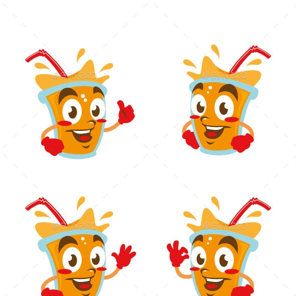 fresh juice cartoon character cute