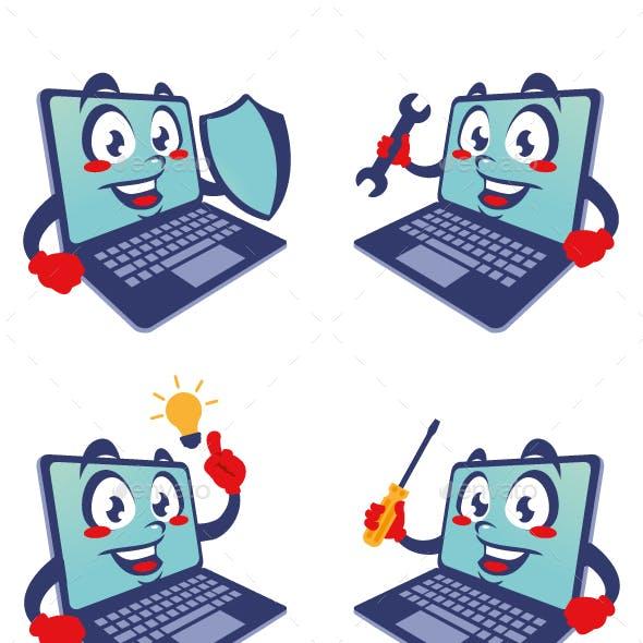laptop computer cartoon character cute