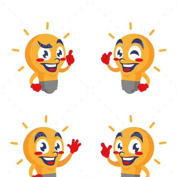 lightbulb cartoon character cute