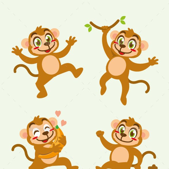 monkey cartoon character cute design