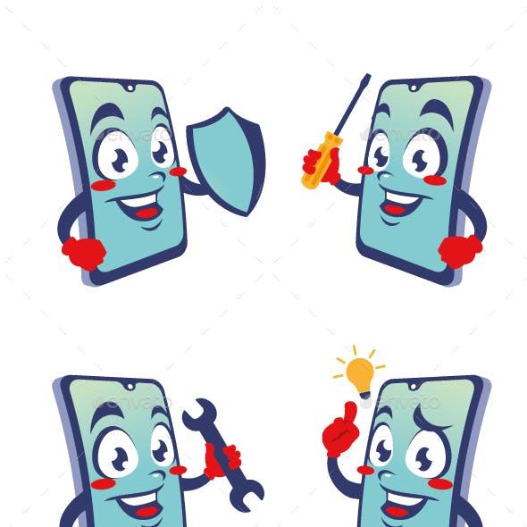 phone gadget cartoon character cute