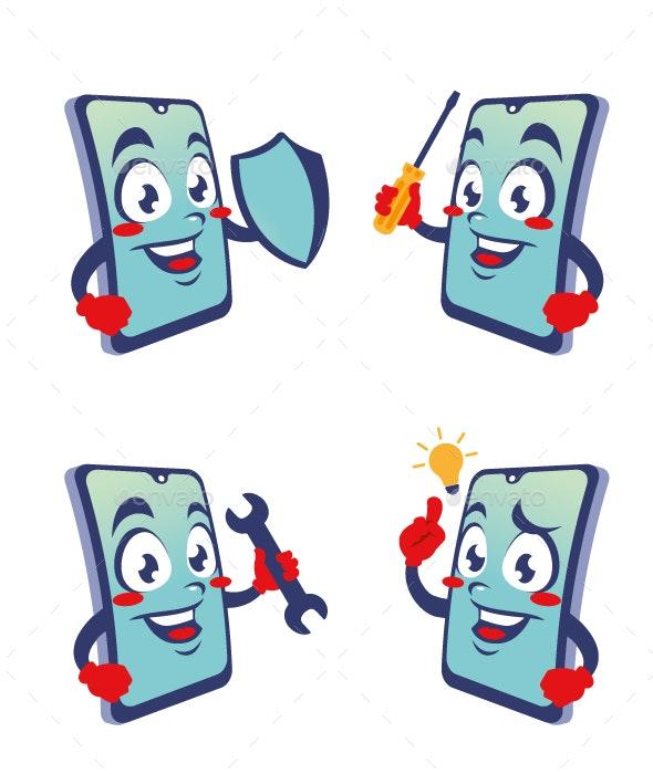 phone gadget cartoon character cute - Technology Conceptual