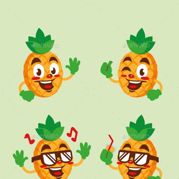 pineapple fruit cartoon character cute