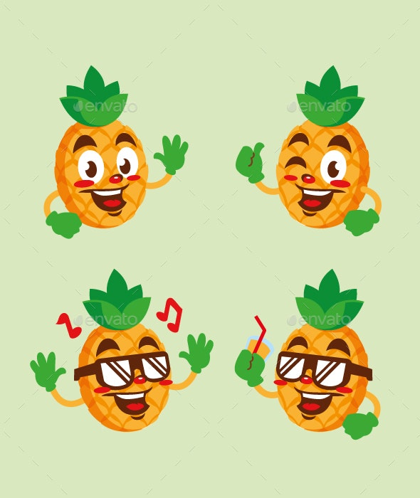 pineapple fruit cartoon character cute - Food Objects