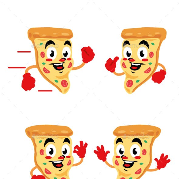 pizza delicious cartoon character cute