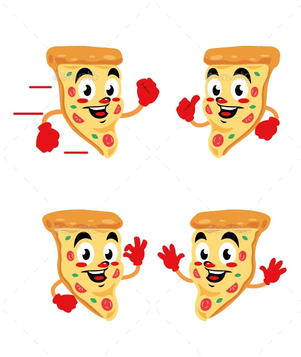 pizza delicious cartoon character cute - Food Objects