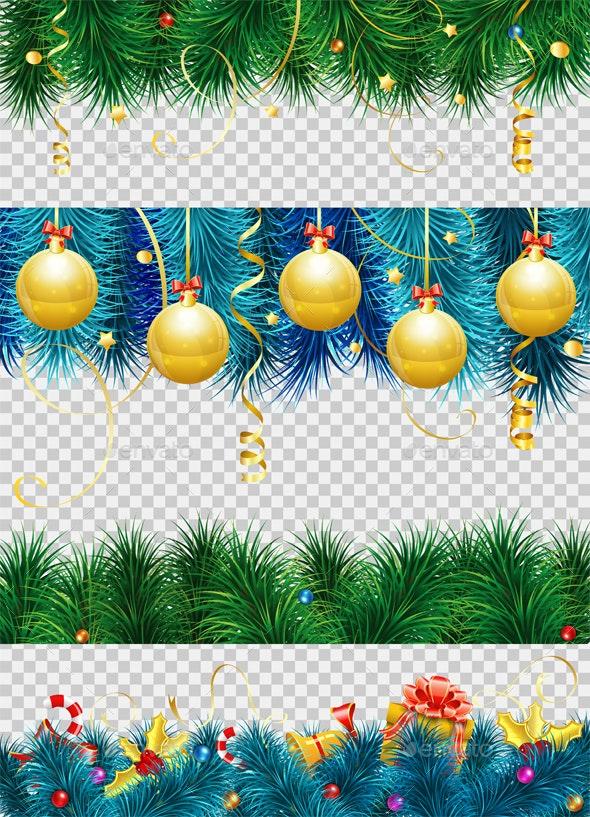 Christmas Frame with Fir Branches - Christmas Seasons/Holidays