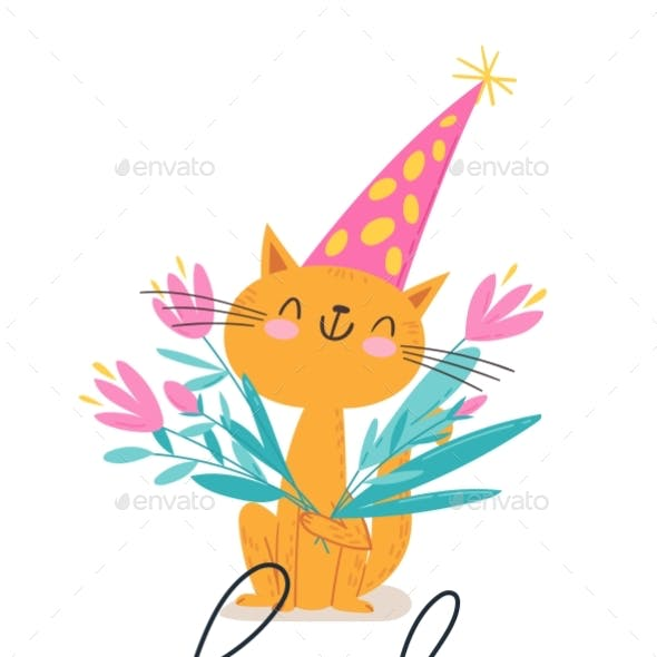 Vector Poster with Funny Cat with Flowers and