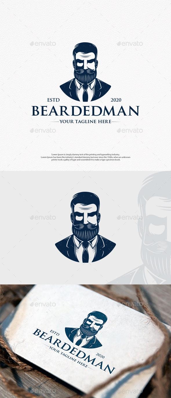 Bearded Hipster Head Logo Design - Humans Logo Templates
