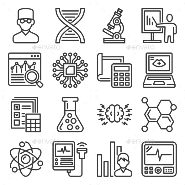 Science, Chemistry and Research Icons Set