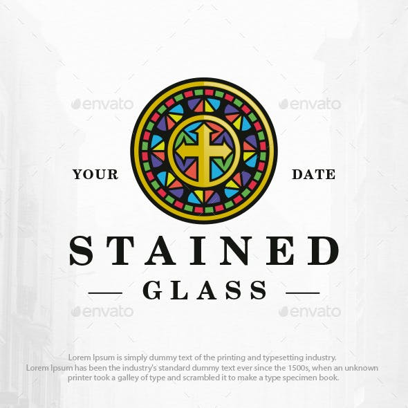 Stained Glass Window Logo Template
