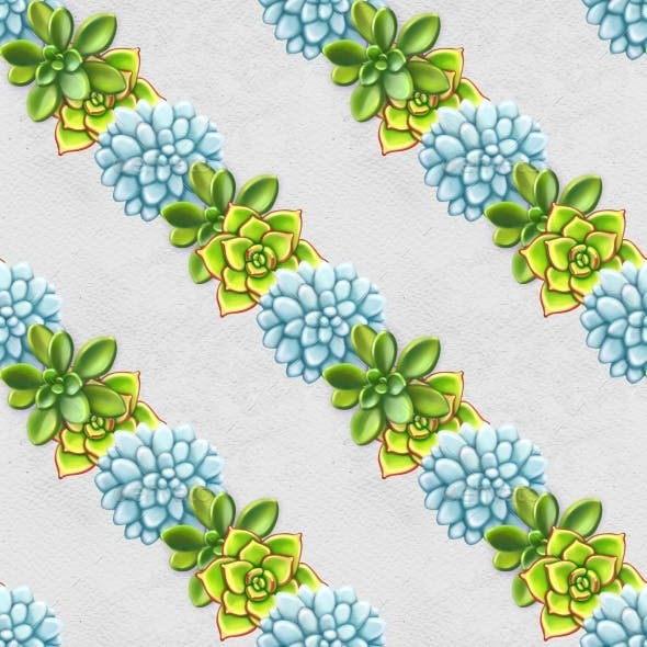 Seamless Pattern with Succulents. Beautiful Floral