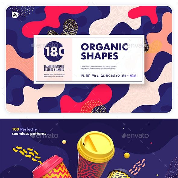 Organic shapes – 180 seamless textures, brushes & design elements