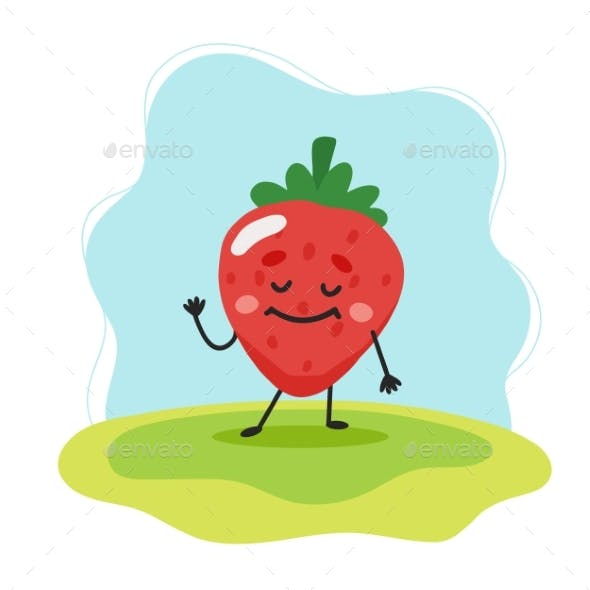 Strawberry Character Vector Illustration