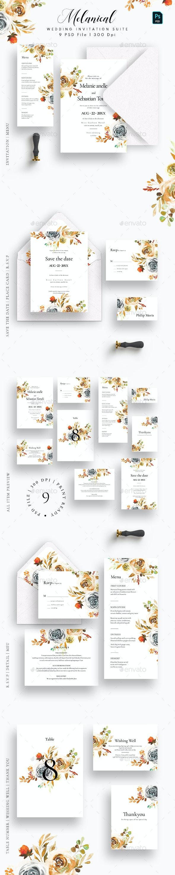 Melanical Wedding Invitation Suite - Weddings Cards & Invites