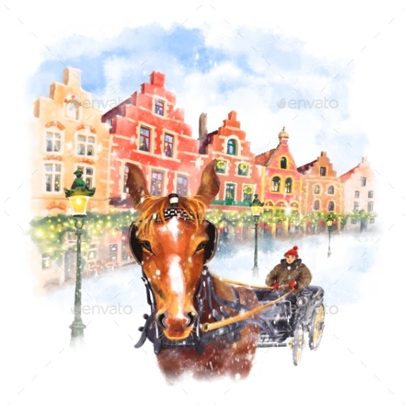 Horse Carriage on Christmas Markt Square in Brugge - Scenes Illustrations