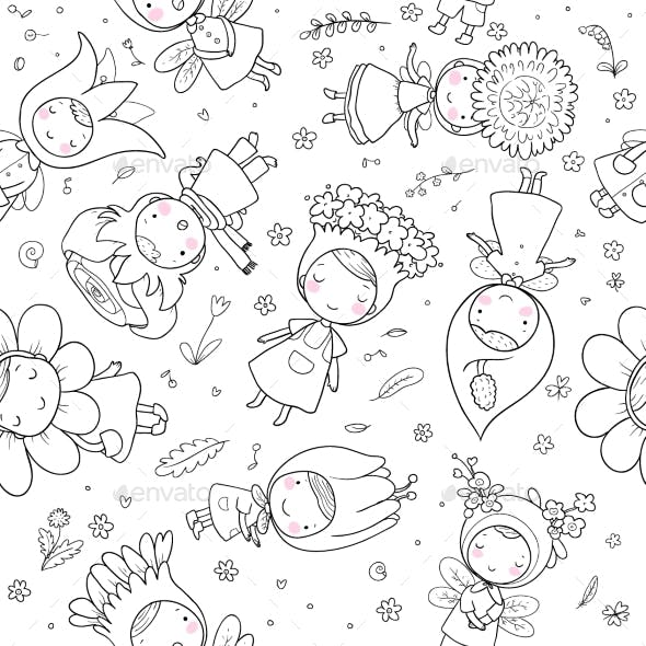 Pattern with Cartoon Flower Fairies