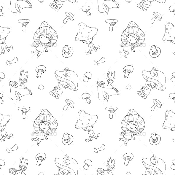 Pattern with Cartoon Gnomes Mushrooms