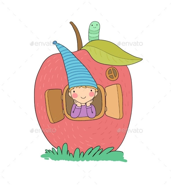 Cartoon Gnome in the Apple House - People Characters