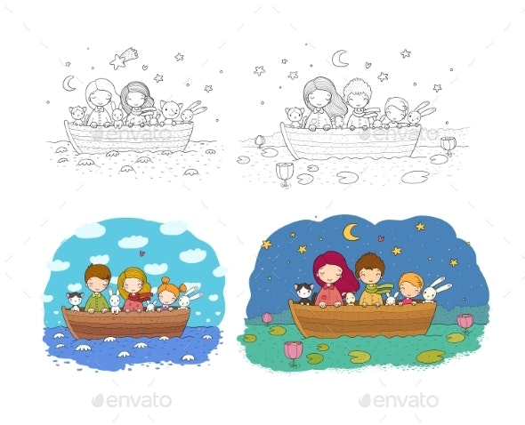 Cartoon Sisters Swim in a Boat with Hares - Landscapes Nature