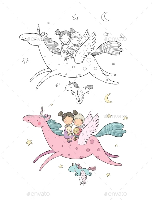 Prince and Princess Are Flying on a Unicorn - Animals Characters