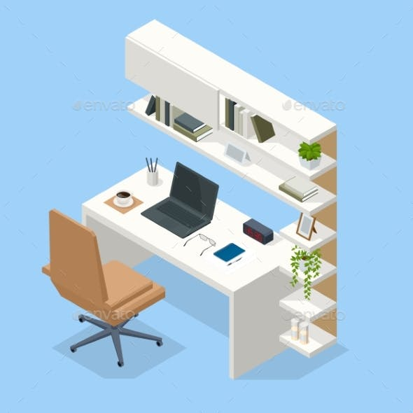 Isometric Contemporary Workspace