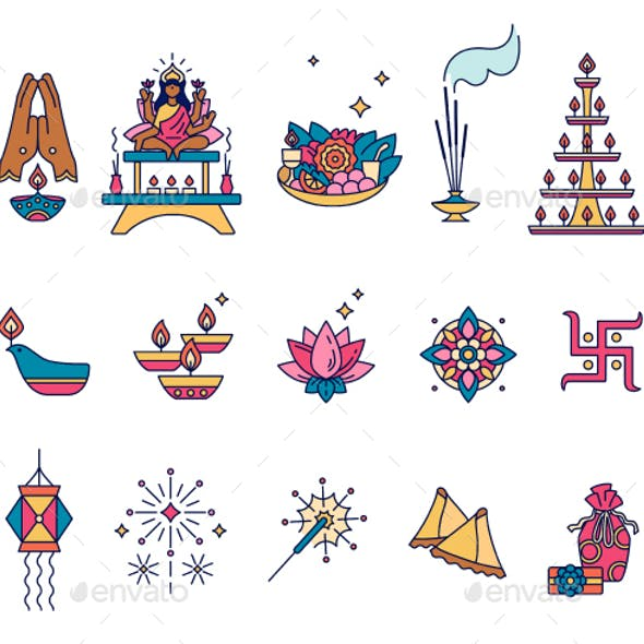 Diwali (Deepavali) Icons Set