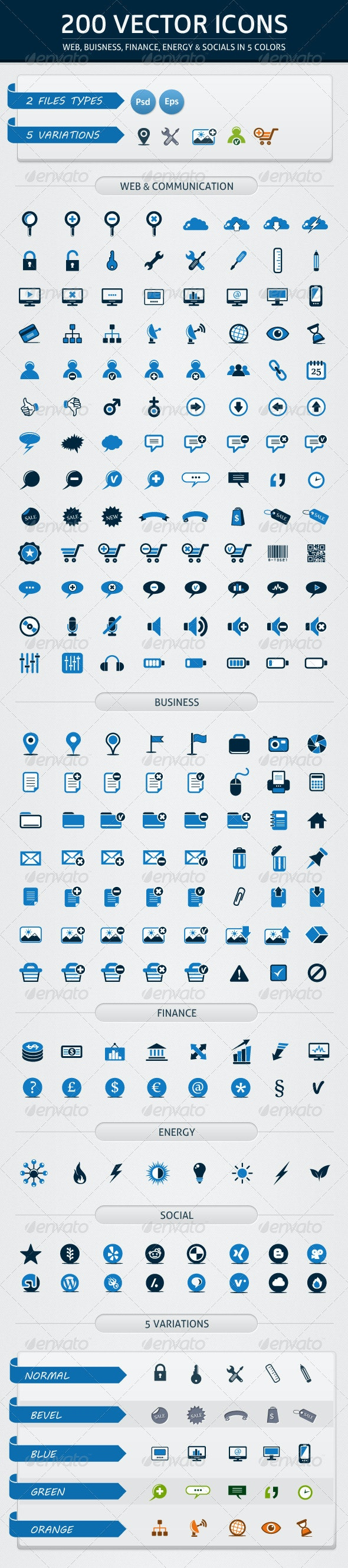 200 Vector Icons in 5 Colors - Web Icons