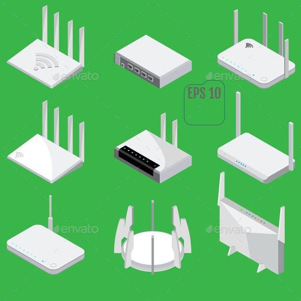 Router Isometric Icons Set Vector